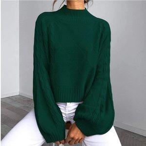 Mock turtleneck cable knit lantern sleeve sweater